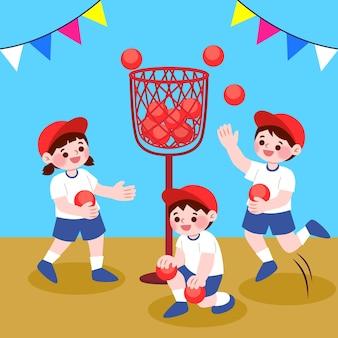 Kinder, die undoukai sport spielen