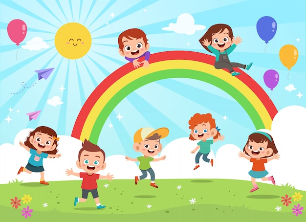 Kinder, die unter bunte karikatur des regenbogens springen