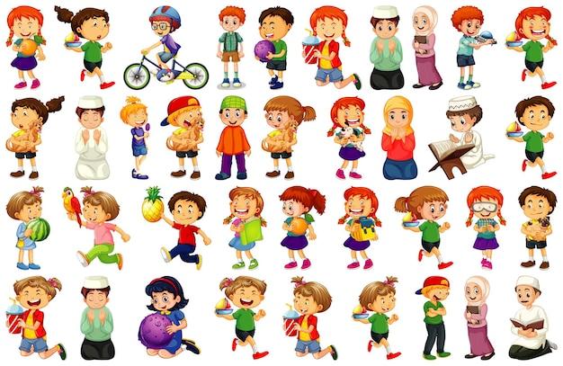 Kinder, die verschiedene aktivitäten cartoon zeichensatz auf weißem hintergrund tun