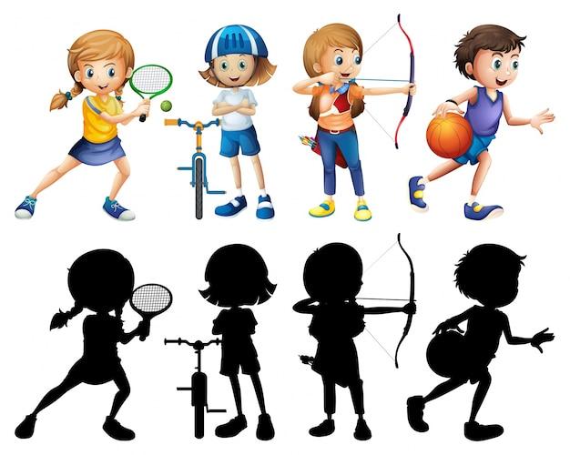 Kinder, die verschiedenen sport tun, stellten mit schattenbild ein