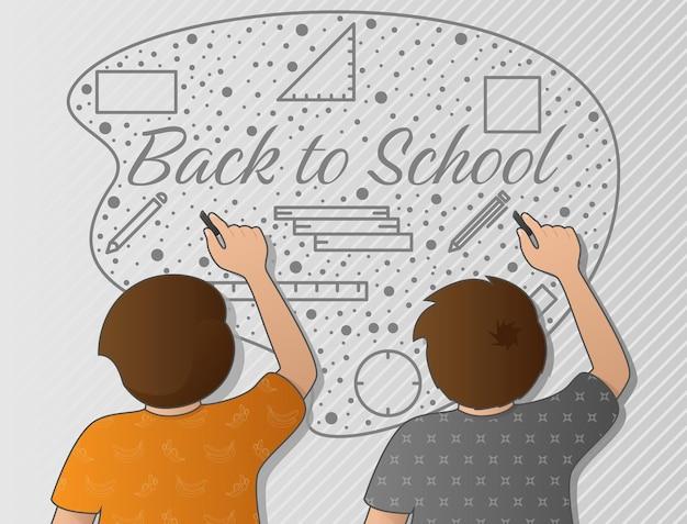 Kinder, die wandmalereien spielen, laden die schüler ein, aufgeregt in die schule zurückzukehren