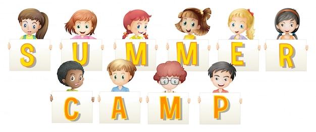 Kinder, die wörter für sommerlager halten