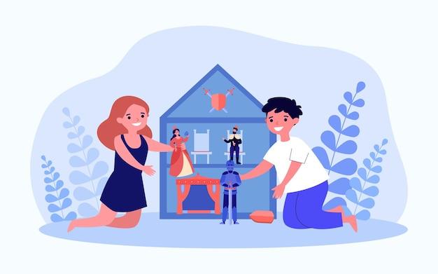 Kinder, die zu hause zusammen puppenhaus spielen. glückliche kinder, die spaß mit spielzeug im puppenhaus haben. geschwister-wochenendunterhaltung. flache cartoon-vektor-illustration, webseiten-landung.