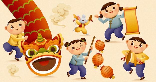 Kinder, die zum chinesischen neujahr löwentanz und gong spielen