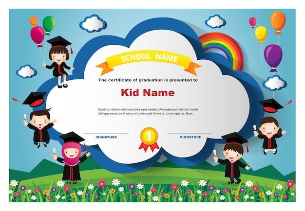 Kinder diplom zertifikat hintergrund entwurfsvorlage