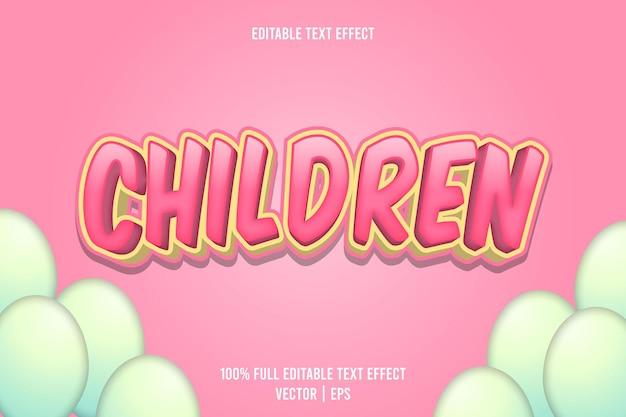 Kinder editierbarer texteffekt 3-dimensionaler präge-cartoon-stil