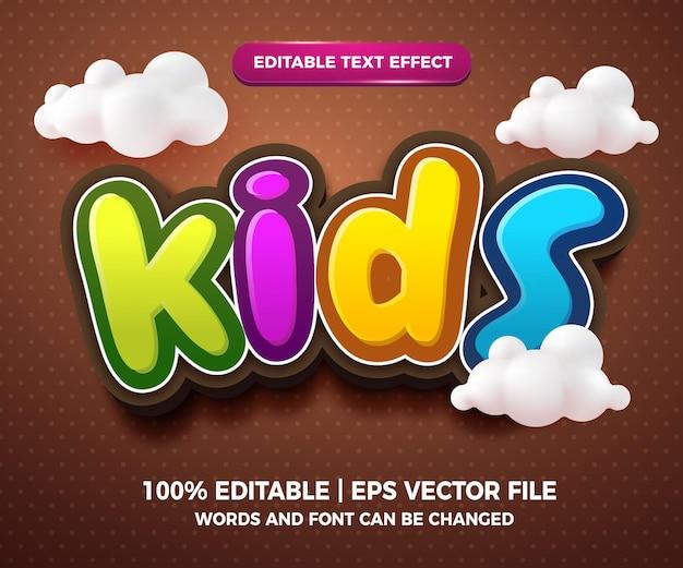 Kinder editierbarer texteffekt 3d-cartoon-stil