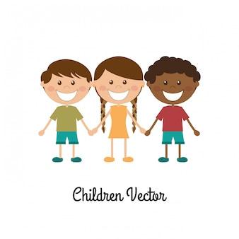 Kinder entwerfen über weißer hintergrundvektorillustration