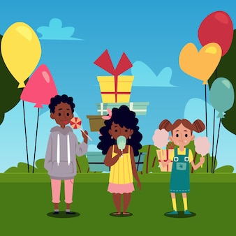 Kinder essen süßigkeiten auf dem park mit luftballons flache vektorillustration.