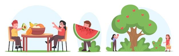 Kinder essen und ernten obst, kleine kinderfiguren pflücken äpfel, sitzen am tisch mit einer schüssel mit frischen obstgartenfrüchten, kleiner junge mit großem stück wassermelone. cartoon-menschen-vektor-illustration