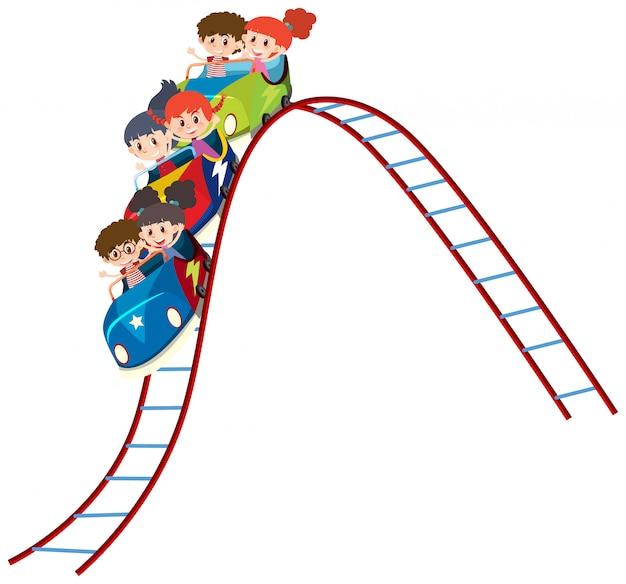 Kinder fahren achterbahn