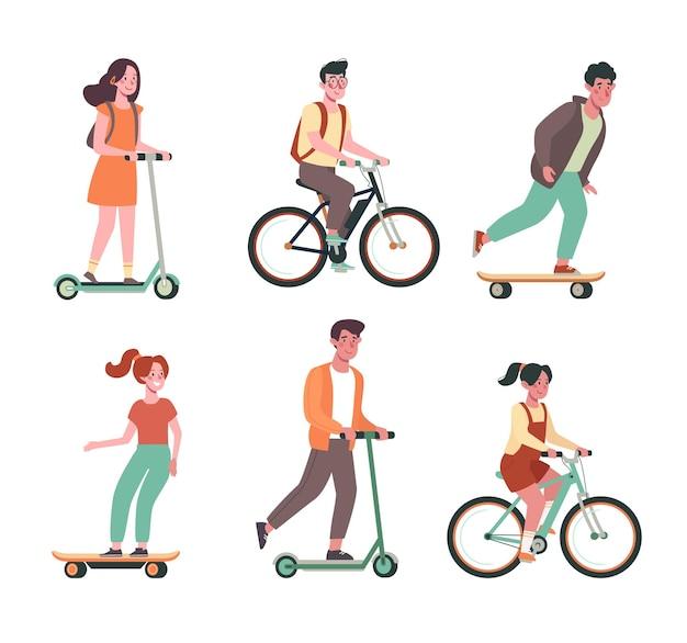 Kinder fahren fahrrad skateboards roller