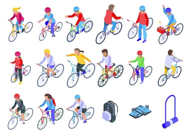 Kinder fahrradset. isometrischer satz von kindern, die für webdesign radeln, lokalisiert auf weißem hintergrund