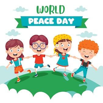 Kinder feiern den weltfriedenstag