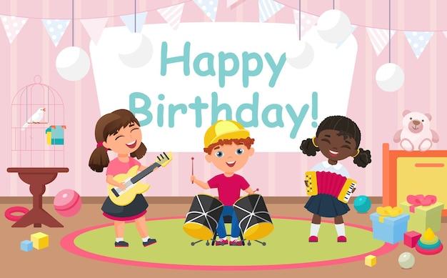 Kinder feiern geburtstagsfeier, freunde spielen lustige musik