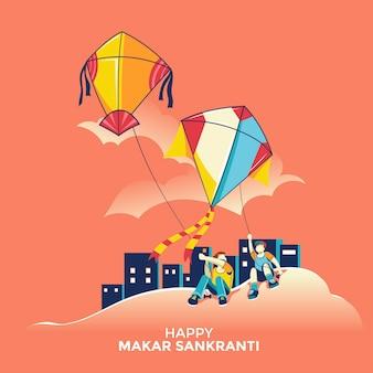 Kinder fliegen drachen für das makar sankranti hindu erntefest