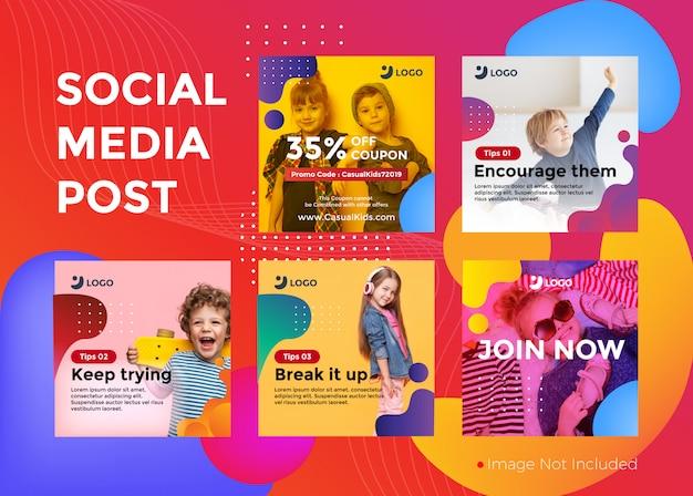 Kinder freizeitkleidung banner promotion set