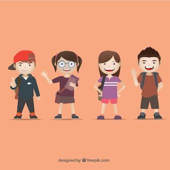 Kinder für die schule gekleidet