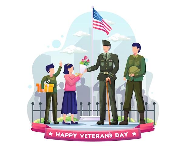 Kinder geben armeeveteranen als zeichen des respekts geschenke und blumen auf der illustration zum veterans day