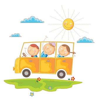 Kinder gehen mit dem bus zur schule
