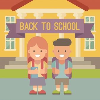 Kinder gehen zur schule. ein junge und ein mädchen mit den rucksäcken, die vor schulgebäude stehen. flache darstellung. zurück zur schule