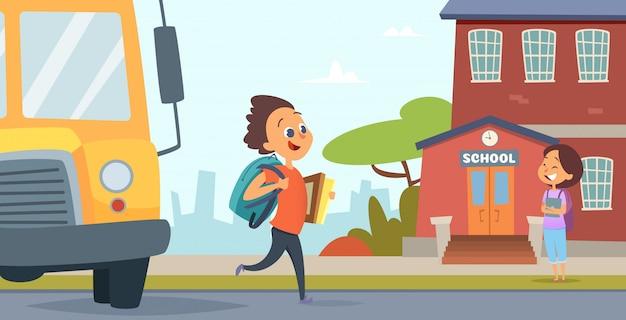 Kinder gehen zur schule. illustration zurück zu der schule