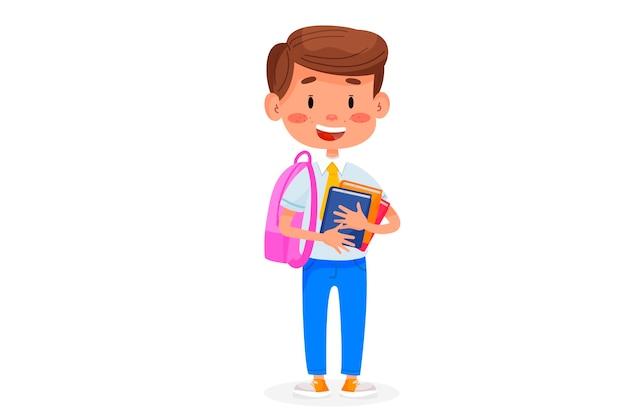 Kinder gehen zur schule. zurück zur schule illustration. kinderbildungsillustration auf weißem lokalisiertem hintergrund.