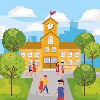 Kinder gehen zur schule
