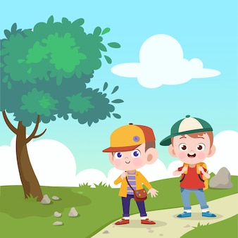 Kinder gehen zusammen zur vektorillustration der schule