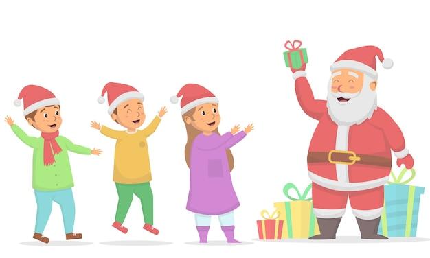 Kinder glücklich, wenn weihnachtsmann weihnachtsgeschenkboxillustration gibt