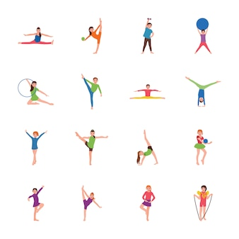 Kinder gymnastik flache vektoren festgelegt