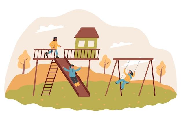 Kinder haben im herbst spaß im freien