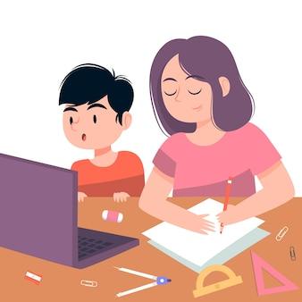 Kinder haben online-unterricht