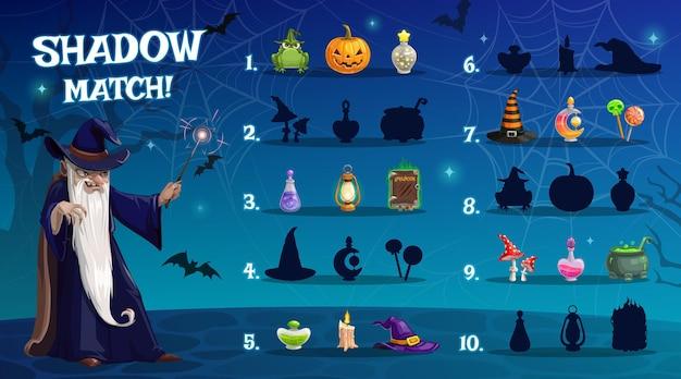 Kinder-halloween-schattenspiel mit zauberartefakten. matheübung für kinder, kinder, die aktivität mit passender aufgabe spielen. zauberer-cartoon-figur mit zauberstab, halloween-kürbis und tränken
