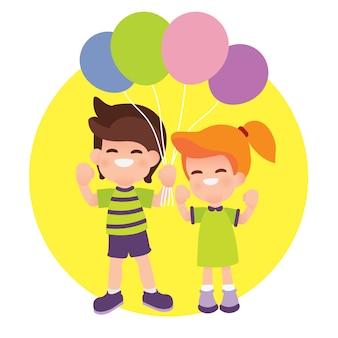 Kinder halten ballons