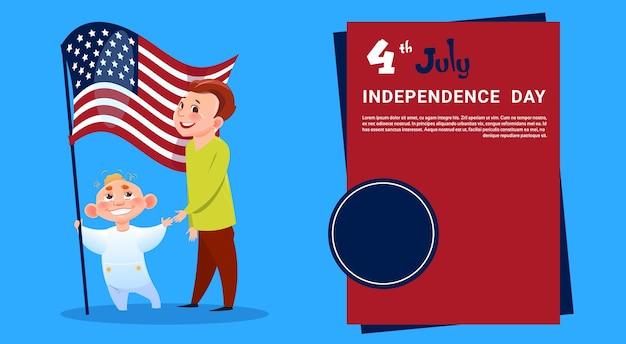 Kinder halten united states flag unabhängigkeitstag