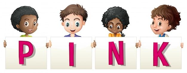 Kinder halten zeichen für wort rosa