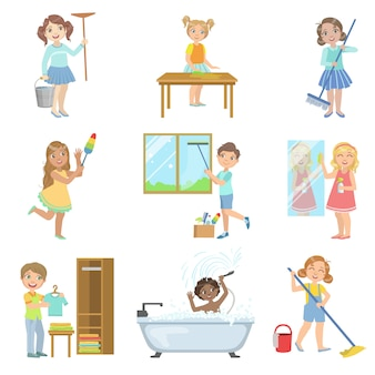 Kinder helfen beim frühjahrsputz