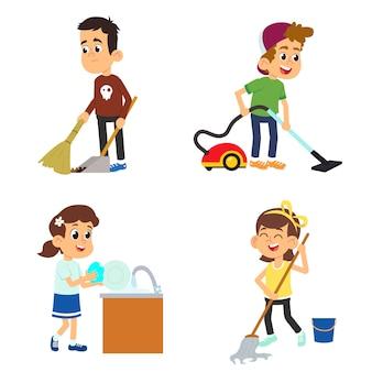 Kinder helfen ihren eltern bei der hausarbeit