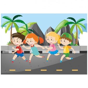 Kinder hintergrund laufen