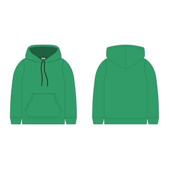 Kinder hoodie in grüner farbe isoliert. technische skizze hoody kinderkleidung.
