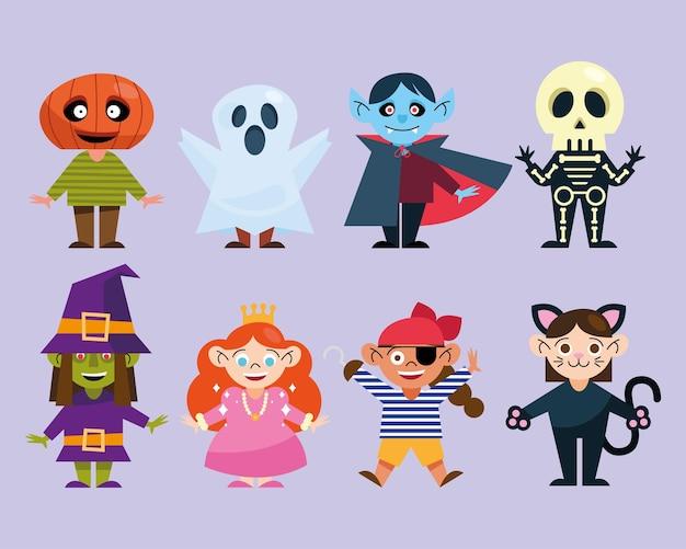 Kinder-ikonensammlung mit halloween-kostümen Premium Vektoren