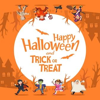 Kinder im halloween-kostüm zum mitnehmen süßes oder saures. vorlage für werbebroschüre. fröhliches halloween.