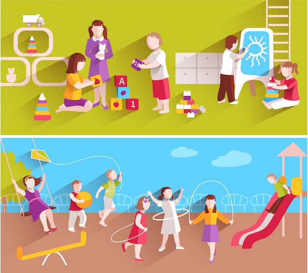Kinder im kindergarten, der auf horizontalem fahnensatz des bodens und des hauses spielt