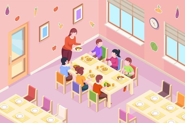Kinder im kindergarten mit essen kinderlehrer bringen gesundes essen zum abendessen oder zur frühstückszeit