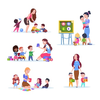 Kinder im kindergarten. spaßkinder, die im klassenzimmer mit lehrer lernen und spielen. cartoon-vektor-zeichen festgelegt