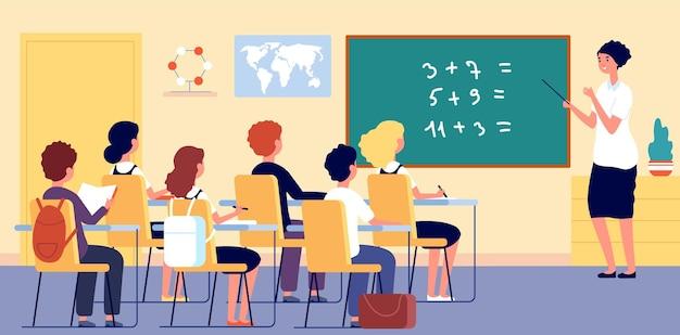 Kinder im klassenzimmer. schullehrer, junges mädchen im unterricht im zimmer. vektorillustration für mathematikunterricht, wissenschaft und umweltbildung. klassenzimmer-bildungsschule, klassenjunge und -mädchen