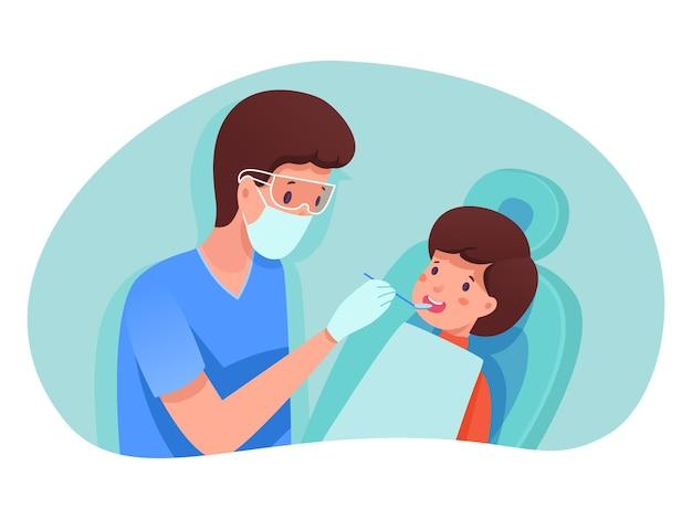 Kinder im klinikkonzept, hno-arzt mit spezialausrüstungs-kontrolljunge