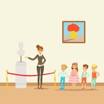 Kinder im museum mit blick auf klassische kunstwerke, schulausflug zum museum illustration