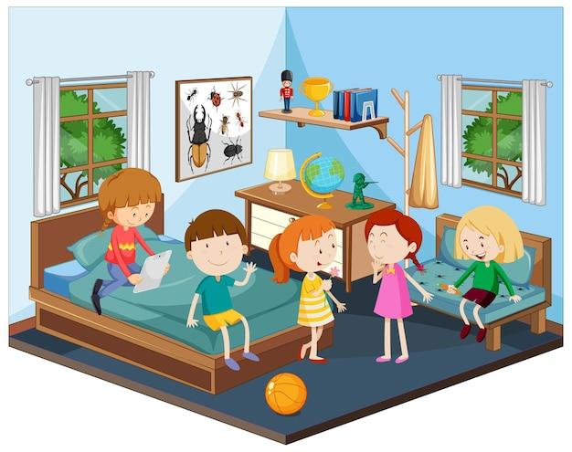 Kinder im schlafzimmer mit möbeln im blauen thema